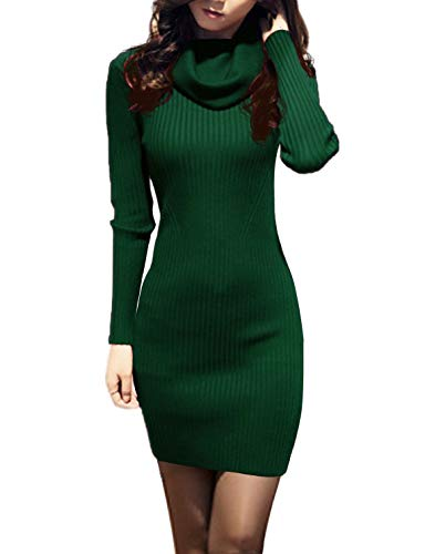 v28 Women Cowl Neck Knit Stretchable Elasticity Long Sleeve Slim Fit Sweater Dress (2-8,Dark Green)