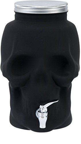 Circleware Skull Face Mason Jar Glass Beverage Dispenser, Fun Halloween Decorations Party Entertainment Glassware Drink Water Pitcher for Juice, Beer & Drinks, Huge 2.1 Gallon-8 Liters, Black-Skull]()