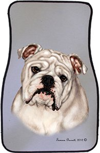 White Bulldog Car Floor Mats - Carepeted All Weather Universal Fit for Cars & Trucks