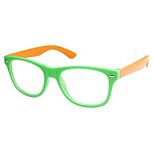 Kids Nerd Retro Two Color Frame Clear Lens Childrens Fake Eye Glasses (Age 3-10) Green/Orange