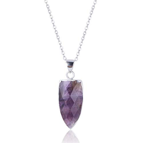 925 Sterling Silver Amethyst Necklace Natural Quartz Long Triangle Crystal Necklace Handmade for Women Girls