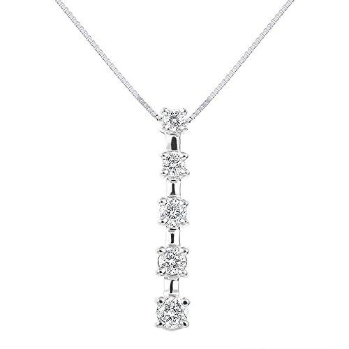 (5 Diamond Stick Journey Necklace 14K White Gold 1/2 CTTW)