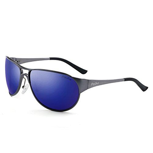 GREY JACK Unisex Lightweight Al-Mg Alloy Metal Rimmed Polarized Sports Sunglasses Grey Frame Blue Lens -