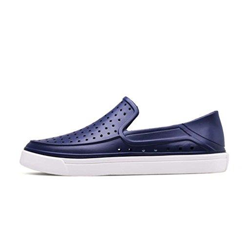ZXCV Zapatos al aire libre El agujero puro del color de los hombres agujerea los zapatos perezosos ocasionales de los hombres respirables Azul oscuro