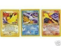 Pokemon Promo Single Card Set of All 3 Rare Legendary Birds Moltres, Articuno & - Movie Set Promo Card