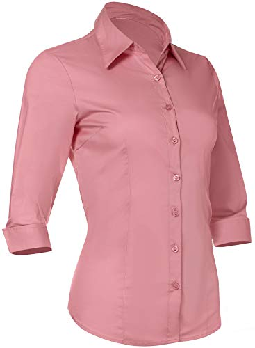 - Pier 17 Button Down Shirts for Women Tailored, 3/4 Sleeve Shirt with Stretch - Semi Fitted for Slim, Fit Look - 97% Cotton and 3% Spandex - Lightweight and Soft Materials (Small, Pink)