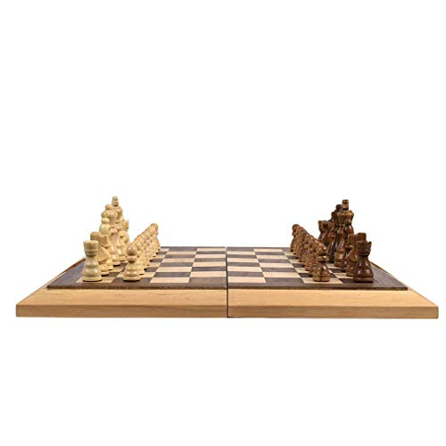 """16"""" Folding Wooden Chess Set with Magnetic Handle Chess Game Board Educational Toys for Kids and Adults Easy Storage and Carry"""