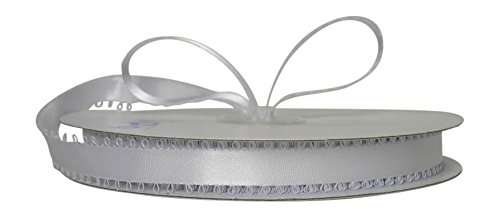 Ben Collection Feather Edge Double Faced Satin 3/16 inch Silver 50 yards Ribbon White