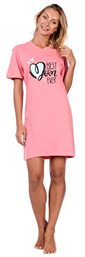 Cozy Loungewear Sleepwear Womens Printed Cotton Short Sleeve Summer Nightgown