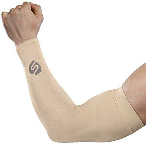 SHINYMOD Cooling Sun Sleeves 2018 Newest Upgraded Version 1 Pair/ 3 Pairs UV Protection Sunblock Arm Tattoo Cover Sleeves for Men Women Cycling Driving Golf Running-a Pair Beige