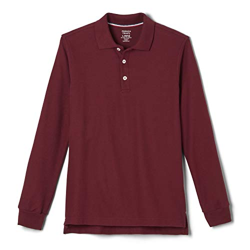 French Toast Big Boys' Long-Sleeve Pique Polo Shirt, Burgundy, X-Large/14-16