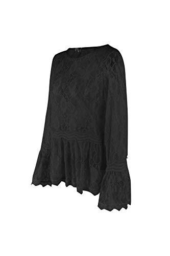 Shirt Printemps Haut Longues et Rond Tops Manches Col JackenLOVE Automne Dentelle Tee Blouses T Noir Fashion Casual Femmes Chemisiers FHTq6nd
