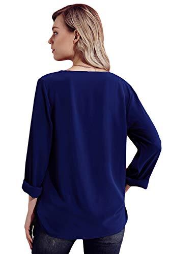 Moussline Col Manches Uranus Unie Top Bouton de Blouse Chemisier Couleur Asymtrique Marin Bleu Soie Longues Femme aqB0T