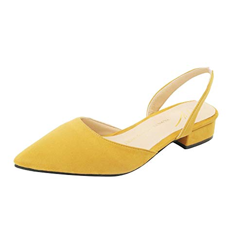 VonVonCo Women Pumps Ankle Strap Thick Heel Pointed Toe Mid Heels Comfortable Shoes Yellow
