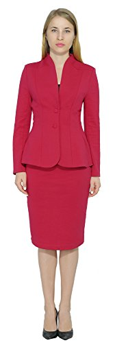 Marycrafts Women's Formal Office Business Work Jacket Skirt Suit Set 12 Light (Womens Jacket Skirt)
