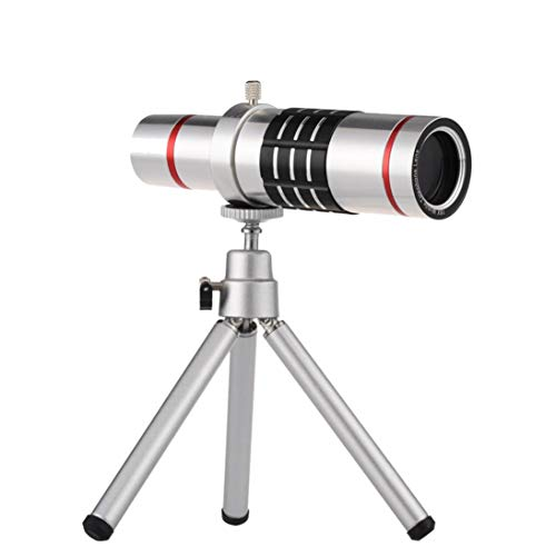 Sonmer HD 18x Optical Zoom Smartphone Camera Aluminum Alloy Telescope, With Clip Tripod (Silver) by Sonmer (Image #1)