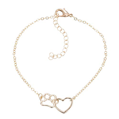 Animal Gold Bracelet - MIXIA Hollow Interlocking Pet Paw Footprint Bracelets Cute Cat Dog Puppy Love Heart Charm Adjustable Animal Bracelet for Women (Gold)