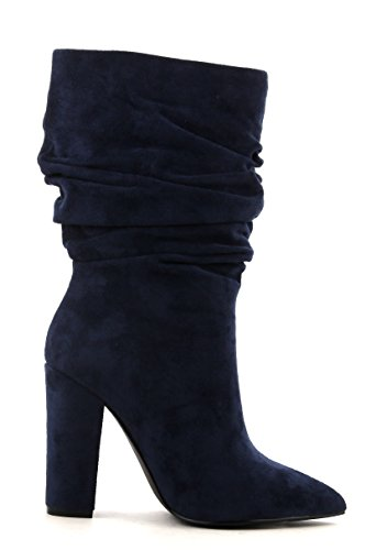 Cr Cape Robbin Beautiful64 Navy Vegan Suede Pointed Toe Slouchy Mid Calf Fashion Boots 3bLO9