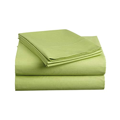 - Luxe Bedding Sets - Microfiber Twin Sheet Set 3 Piece Bed Sheets, Deep Pocket Fitted Sheet, Flat Sheet, Pillow Case Twin Size - Lime