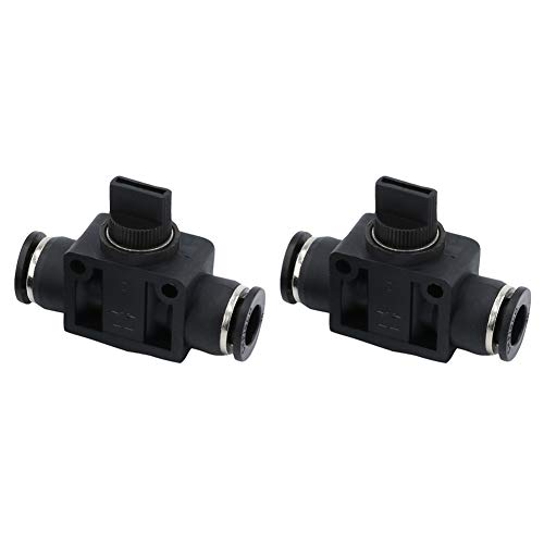 Beduan BHVFF 6 mm OD Pneumatic Plastic Air Tube Hand Valve Speed Controller Union Straight Fittings (Pack of 2)