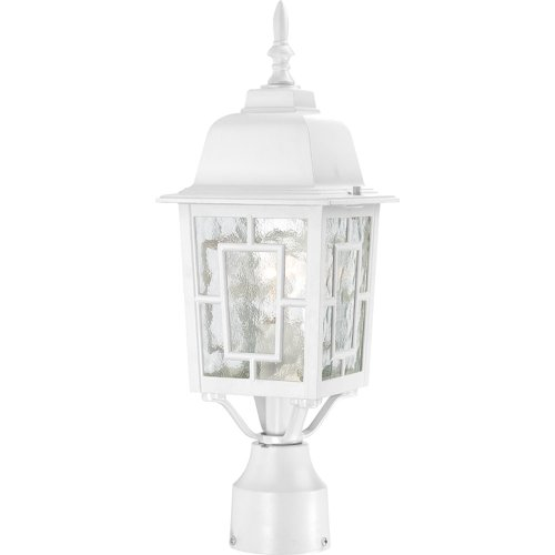 Nuvo Lighting 60/4927 Banyon One Light Post Lantern 100 Watt A19 Max. Clear Water Glass White Outdoor Fixture ()