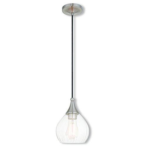 Livex Lighting 40601-91 Art Glass Mini Pendant 1 Light, Brushed Nickel