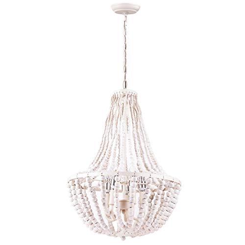 Beaded Chandelier, Morden Fort White Beaded Chandelier 5 Lights for Living Room/Bed Room/Dining Room