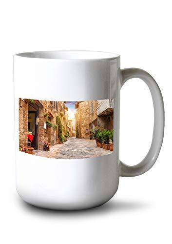 Lantern Press Colorful Street in Pienza Tuscany, Italy A-91440 (15oz White Ceramic Mug)