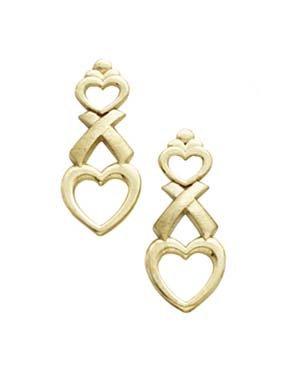8fc7c2cc72a Amazon.com: 14k Yellow Gold Hugs and Kisses Earrings: Dangle ...