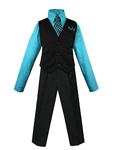 Luca Gabriel Toddler Boys' 4 Piece Pinstripe Vest Shirt Tie Pant and Hanky Set Turquoise - 7