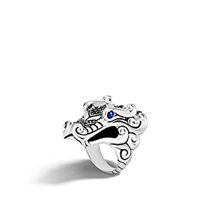 John Hardy Women's Legends Naga Silver Ring with Black Sapphire, Black Spinel and Blue Sapphire Eyes