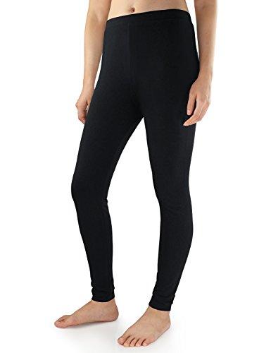 David Archy Women's Heavy Weight Fleece Lined Thermal Leggings (M,Black)