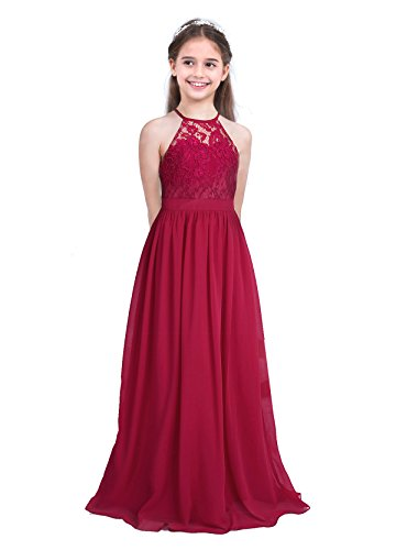 MSemis Girls Princess Halter Neck Floor-Length Lace Chiffon A-Line Junior Bridesmaid Dress
