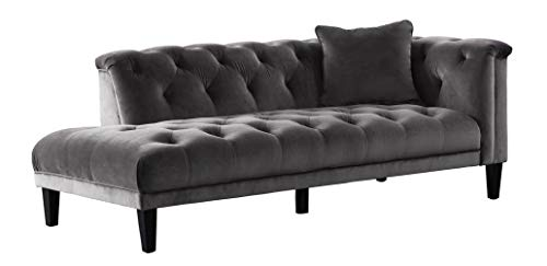 Strange Acanva Luxury Vintage Tufted Velvet Living Room Family Sofa Chaise Dark Gray Gmtry Best Dining Table And Chair Ideas Images Gmtryco