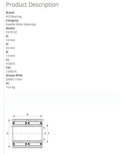 Forest Industry IKO TA1813Z Needle Roller Bearings 25x18x13mm