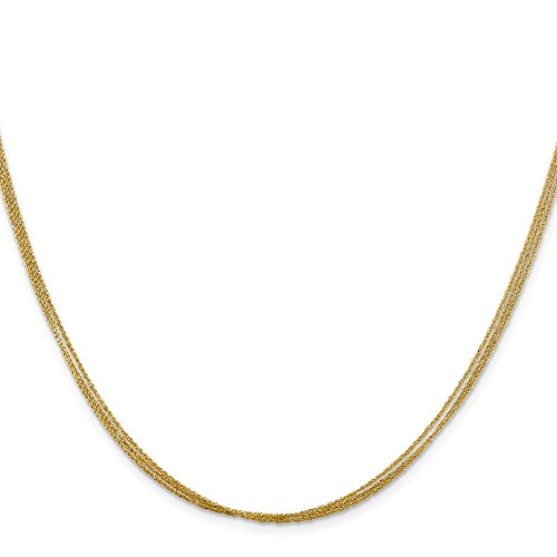 Triple Rope Chain (14K Yellow Gold Triple Strand Rope Chain Necklace, 16