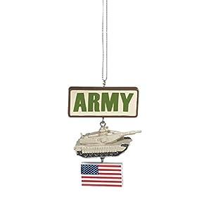 Army Tank Resin Stone Military Christmas Ornament