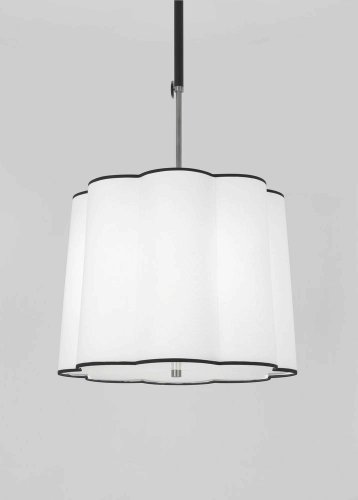 (Robert Abbey D2135 Pendants with Scalloped Ascot White Fabric Shades, Blackened Antique Nickel/Matte Black Accents Finish)