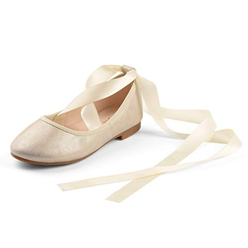 Nova Utopia Toddler Little Girls Dress Ballet Flat Shoes wth Ribbons,NF Utopia Girl NFGF315 Champagne 12