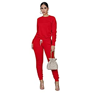 Two Pieces Outfits for Women's Solid Sweatsuit Long Sleeve Tights Long Pants Sport Suits Tracksuits