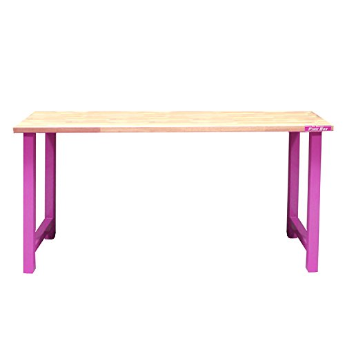 The Original Pink Box PB7226WT Workbench with Wood Work Surface and Pink Legs