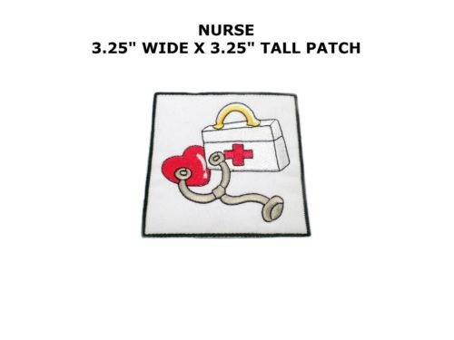 Iron On Embroidered Applique Patch Medical Blue Nurse Bandaid Heart Stethoscope by I.E.Y.online-store