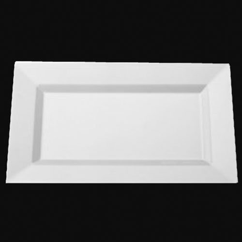 Exquisite 11.5 Inch. White Rectangular Premium Plastic Plates - 40 Count