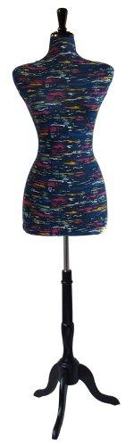 Female Decorative Dress Form Mannequin Print Fabric Modern Black Color Base (Printed Dress Form compare prices)