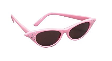 88cdec1c5b81 Image Unavailable. Image not available for. Color  Pink Sunglasses 1950S  Grease Pink Ladies Rock N Roll Fancy Dress ...