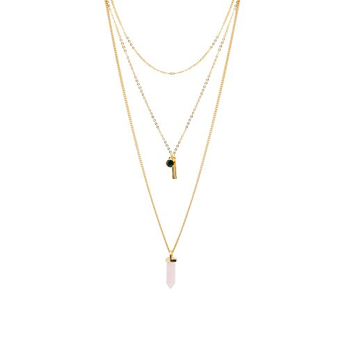 T-Doreen Layered Necklace Nature Stone Pendant Necklace with Pink Quartz Stone (Layered Stone)