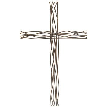 Aunt Chris' Products - Metal Twig Cross - Wall Mounted Decor - Looks Like Nature Made It - Large Size Adds A Beautiful Statement - Use Indoor Or Outdoor
