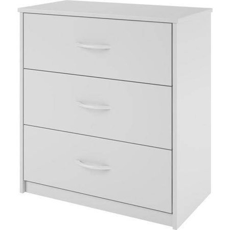 Mainstay 3-Drawer Wooden Dresser with Easy-glide Drawers, White by Mainstay