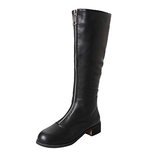 Womens Girls Knee Boots, Autumn Winter Casual Zipper Flat Walking Shoes 5.5-7.5 (Black, US:6.5) by Aurorax-Shoes
