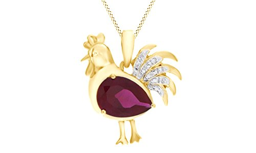 - Jewel Zone US Pear Simulated Ruby & Natural Diamond Accent Rooster Pendant in 14k Gold Over Sterling Silver